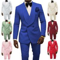 Embossing Groom Tuxedos Pink Mens Wedding Tuxedos Wide Shawl Lapel Man Jacket Blazer Men Prom Dinner 2pcs Suit Jacket+Pants