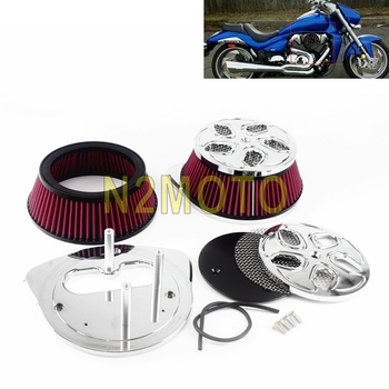 2pcs Motorcycle Air Cleaner Intake Filter System Kit Aluminum for Suzuki Boulevard M109R 2006-2018 2016 2017 High Flow Air Kit