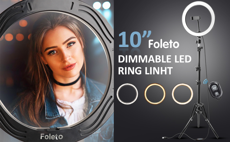 Rovtop 10 Inch Selfie Ring Light with Ring Stand for iPhone Tripod and Phone Holder for Video Photography 17