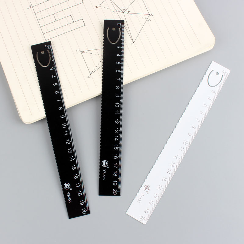 Creative Simple MUJI-style Black And White Ruler High Grade Steel Ruler Multi-functional Bookmark Dual Purpose Students PDA Feet