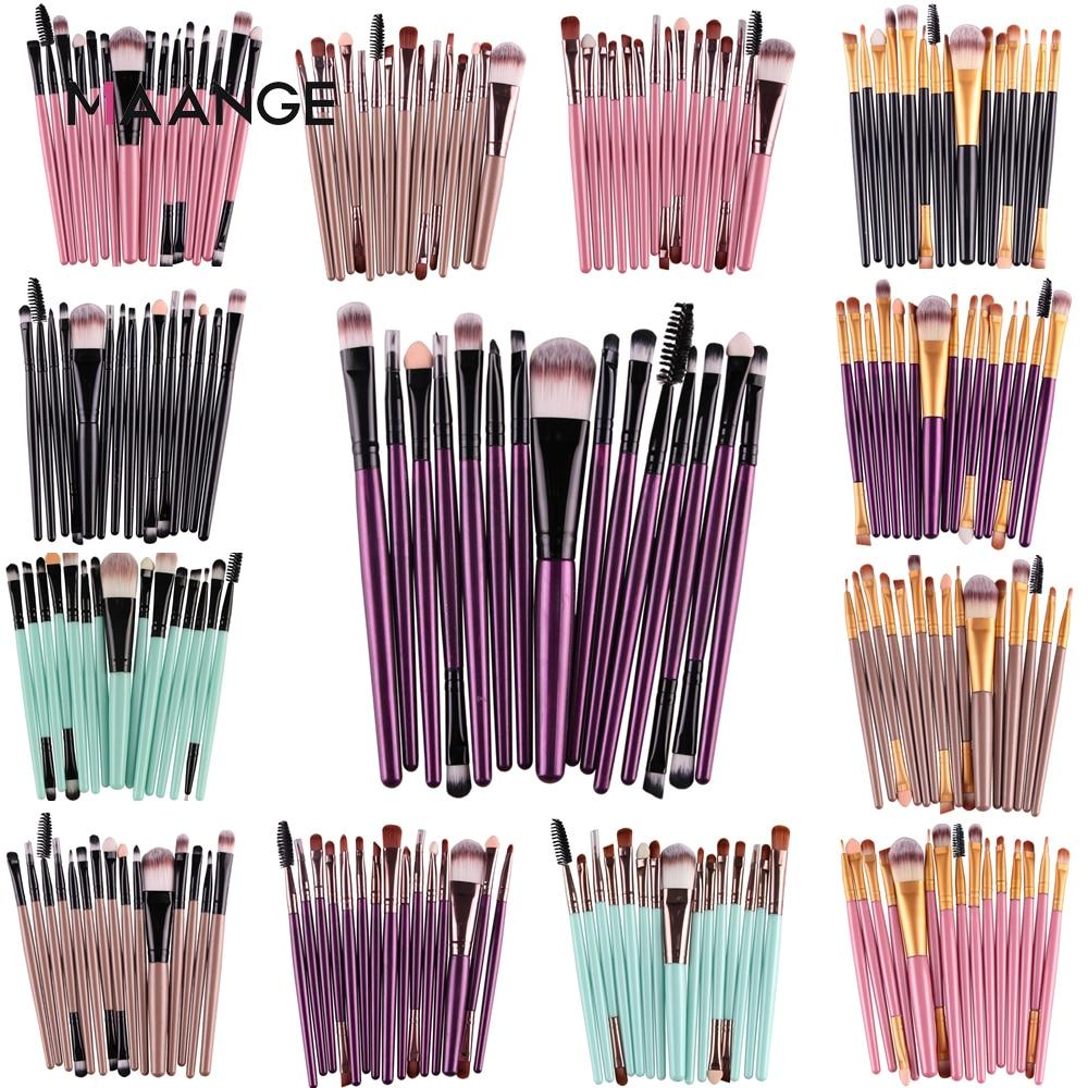 MAANGE Pro 15 Uds juego de brochas de maquillaje sombra de ojos base en polvo delineador de ojos pestañas labio maquillaje cepillo cosmético herramienta de belleza Kit caliente|cosmetic make up|makeup brush setbrush set - AliExpress