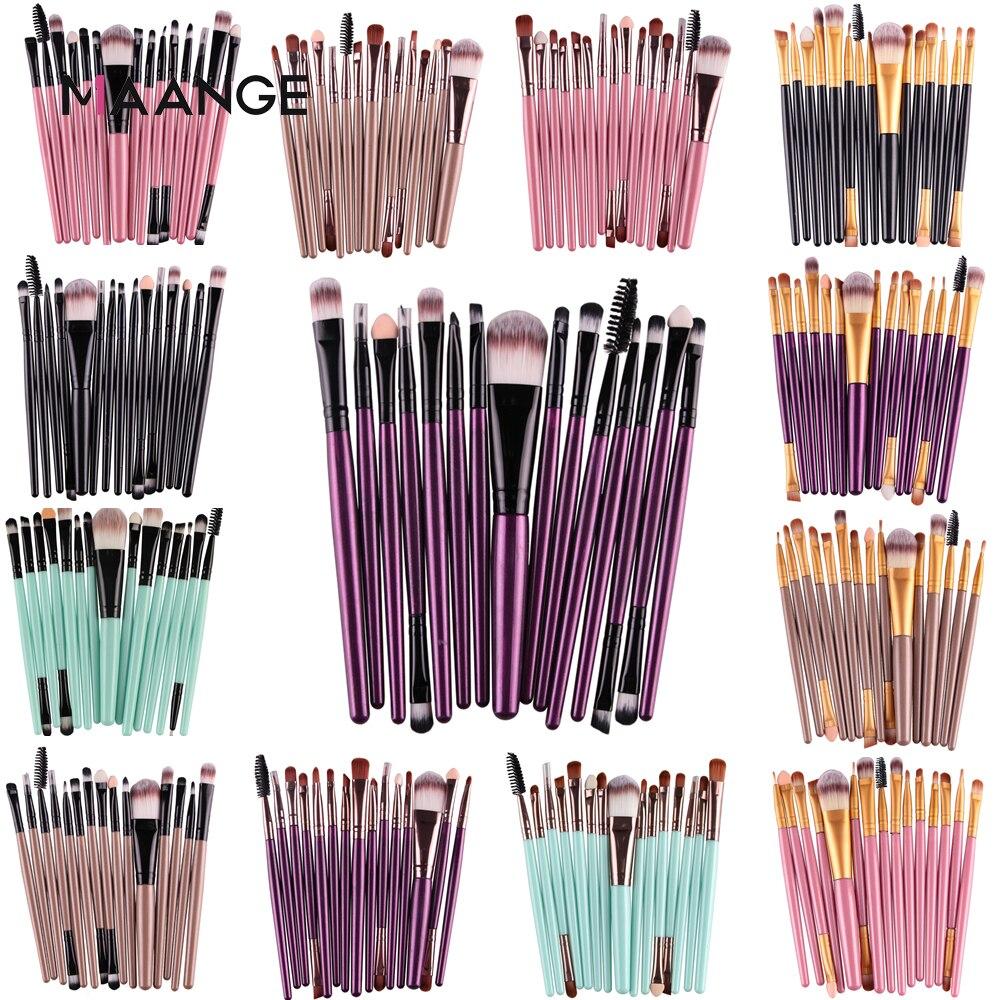 MAANGE Pro 15Pcs Makeup Brushes Set Eye Shadow Foundation Powder Eyeliner Eyelash Lip Make Up Brush Cosmetic Beauty Tool Kit Hot(China)