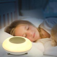 LED Night Light with Wireless Charger Warm White Spaceship Touch Control Bedside Light Night Light for Bedroom Kids Gift