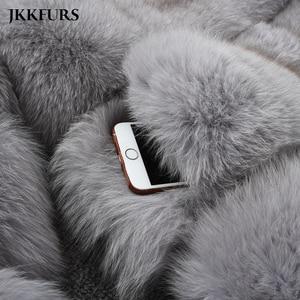 Image 5 - Kadın gerçek tilki kürk ceket moda stil 2019 yeni gelenler yüksek kalite kış kalın sıcak kürk ceket giyim S7362