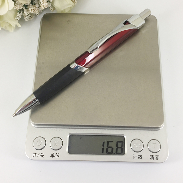Fashionable Triangle Ballpoint Pen with Soft Rubber Grip Silver & Red Pen Retractable Press Push Writing Stationery Unisex Gifts 5