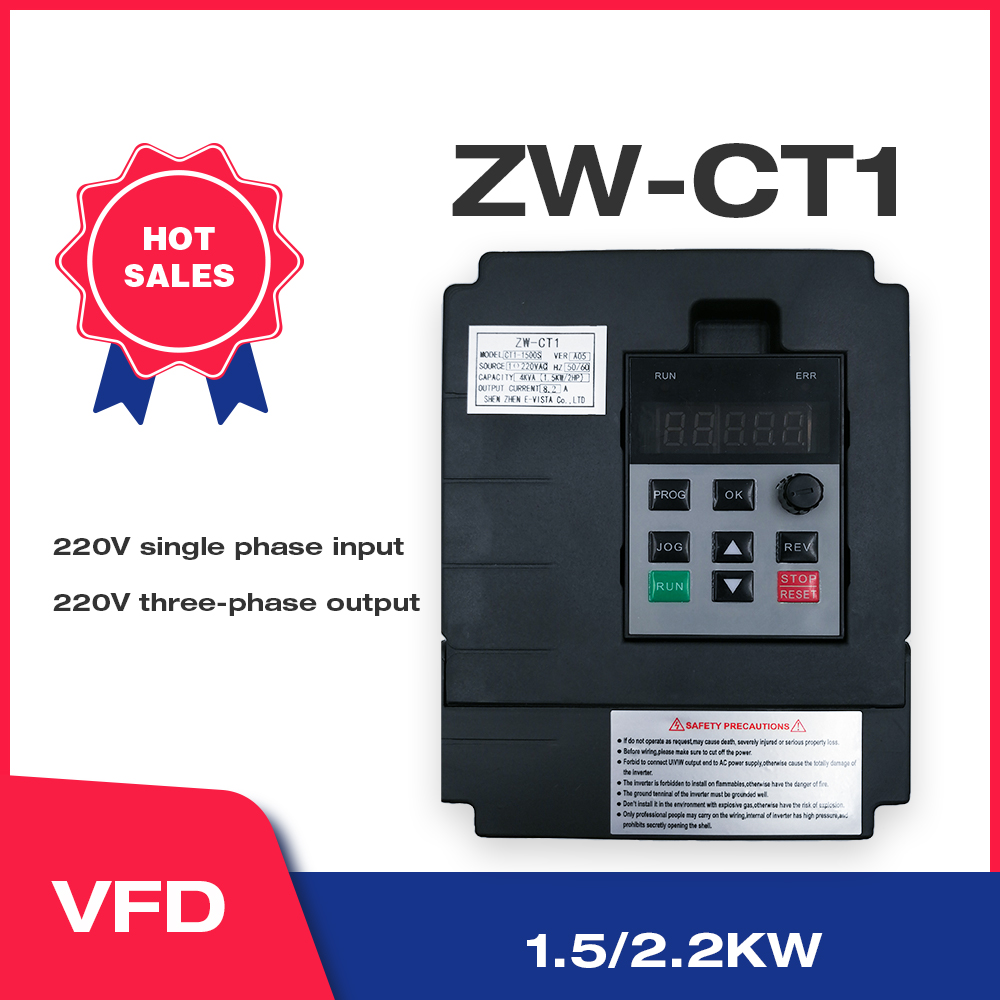 VFD Inverter Freqency Converter 1.5KW/2.2KW Variable Frequency Motor Speed PWM Control CT1 Free Shipping wcj2
