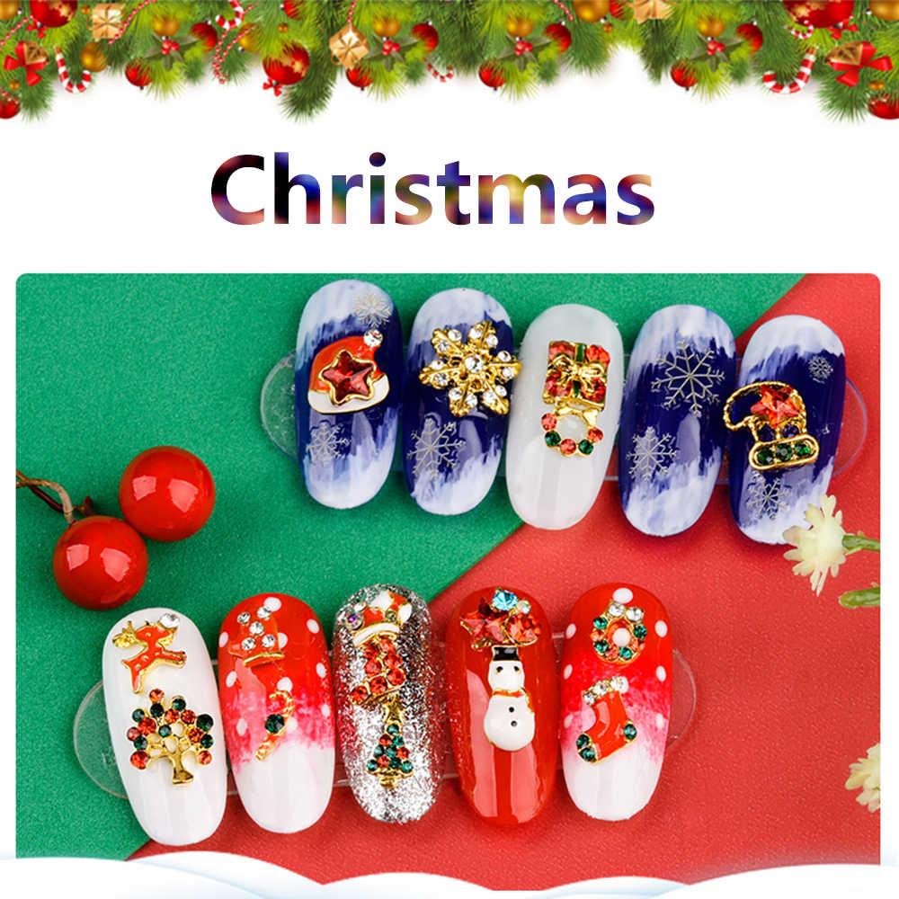 1 قطعة 24 أنماط عيد الميلاد مسمار الفن 3D الماس بريق الراين سبيكة معدنية سانتا عيد الميلاد شجرة ثلج المهرجانات مسمار زينة
