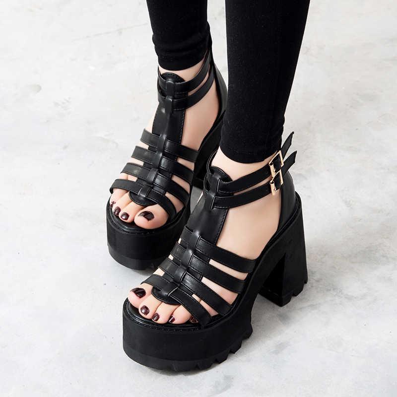 Tıknaz topuk sandalet serseri ayakkabı sandalet yüksek topuklu Platform sandaletler kadın yaz ayakkabı kadın sandalet tıknaz ayakkabı YMA160-1
