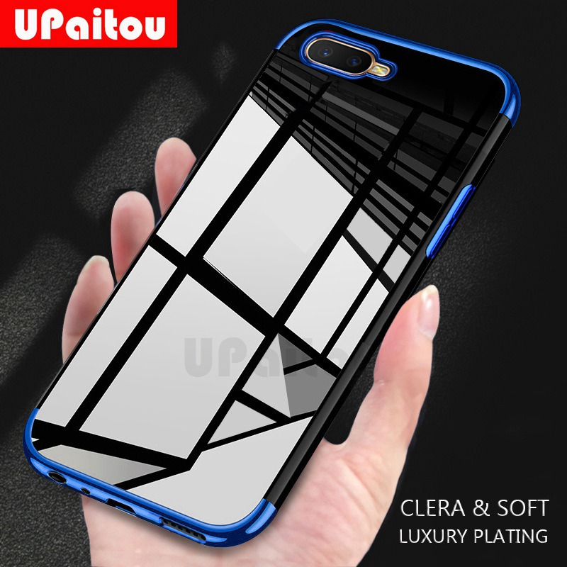 UPaitou Luxury <font><b>Plating</b></font> Case for <font><b>OPPO</b></font> <font><b>Reno</b></font> 5G RX17 R17 Neo Pro R15 R15X <font><b>TPU</b></font> Soft Silicone Clear Transparent Back Cover Case image