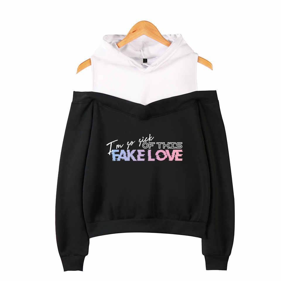 Tops Bangtan Boys Gefälschte Liebe Hoodies Kpop Sweatshirt Frauen Mode Beliebte Off-schulter Hoodie Trainingsanzug Frauen Streetwear