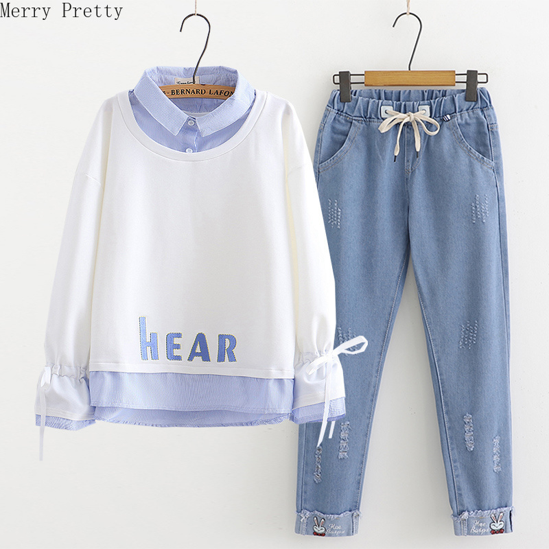 Women Sets Clothing Letter Embroidery Sweatshirt And Cartoon Embroidery Pockets Denim Pants 2020 Women Casual Two Piece Set