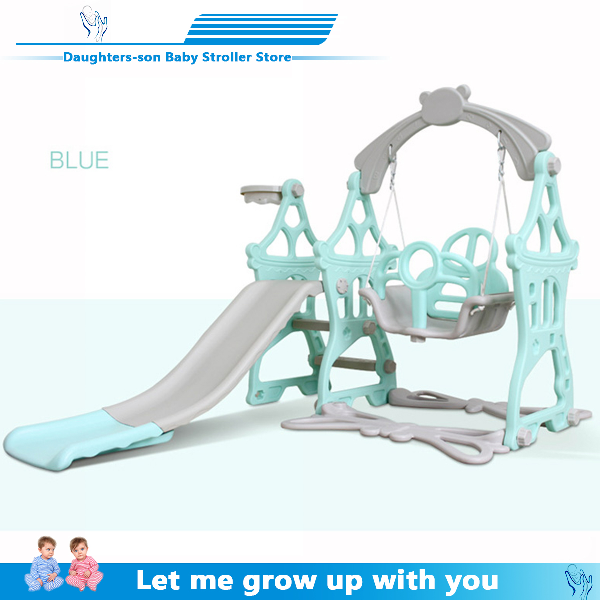 Silla de columpio para bebé 3 en 1 tobogán combinación Shoot Baloncesto niños Mini patio interior Multi funcional tobogán conjunto envío gratis
