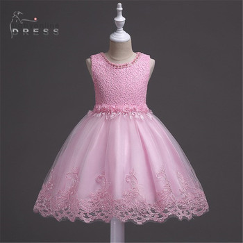 Flower Girl's Birthday Banquet Girls Tulle Dresses Lace Wedding Pink Skirt Flower Girls Dresses In Stock бантики для девочек fashion green and pink rainbow flower fairy costume for girls birthday cupcake layered dresses