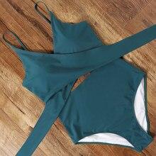 Maillot de bain une pièce croisé solide et sexy à culotte tanga pour femme,body brésilien, léopard, monokini, taille haute, vêtements de plage,