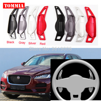 tommia For Jaguar F-PACE 2016-2017 2pcs Steering Wheel Aluminum Shift Paddle Shifter Extension Car-styling