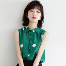 Turn-Down Collar Sleeveless Women Blouse Button Printed Chiffon Blouses Female 2020 Summer Fashion Casual Black Tops Blusa Mujer(China)