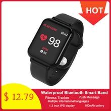 696 B57 חכם שעון לחץ דם גשש כושר קצב לב Tracker IP67 עמיד למים Bluetooth חכם צמיד ספורט שעוני יד