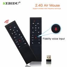 KEBIDU MT12 ses uzaktan kumanda 2.4G kablosuz hava fare mikrofon jiroskop android tv kutusu H96 X96 MAX HK1 TX6 A95X f1
