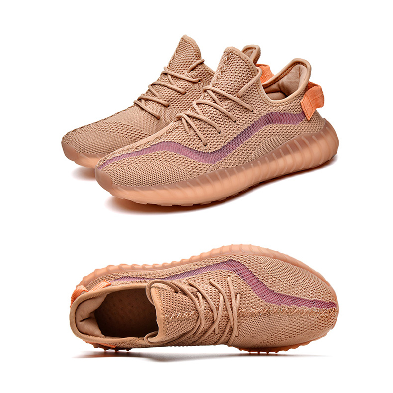 New Womens Casual Shoes Kanye West Men Women Breathable Flyknit Mesh Gym Running Sneakers