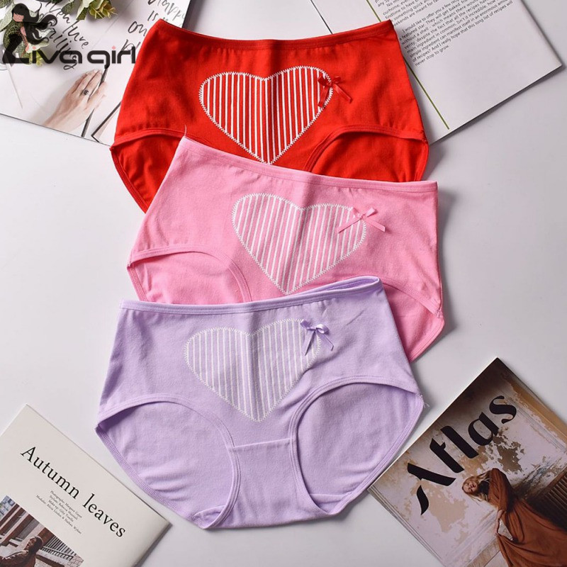 New Cute Women Panties Bow Heart Print Ladies Mid Rise Briefs Lingerie Fashion Cotton Airy Girls Underpants