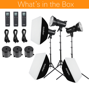 Image 2 - Godox 3x SL 60W beyaz versiyonu stüdyo LED sürekli fotoğraf Video işığı + 3x1.8m ışık standı + 3x60x90cm Softbox led ışık kiti