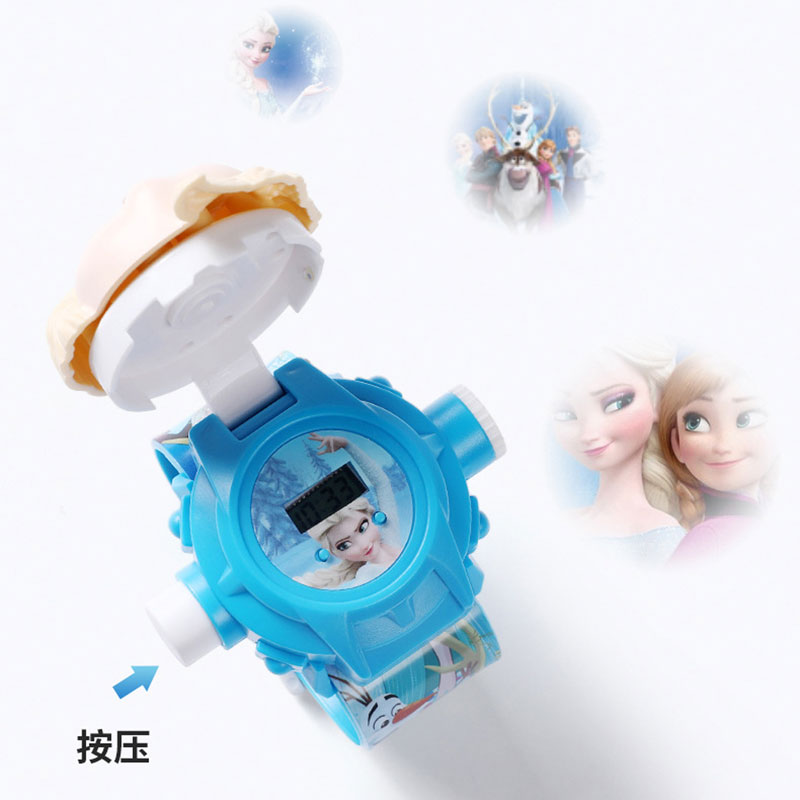 H3e39a38855e14b669b67ce3e319daddbf - The 3 D Projection Children Watch Cartoon Ultraman Spiderman Ironman Princess Digital Watches Kids Watches Toy