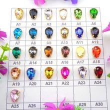 Bunte glas kristall Gold klaue 7 Größen Farben mix teardrop waterdrop wasser drop Droplet Nähen auf strass kleidung diy trim