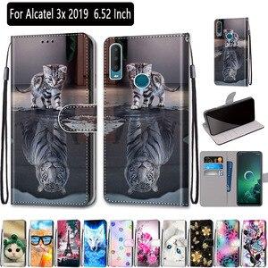 Чехол-бумажник для Alcatel 3X 2019 6,52 дюйма, мягкий силиконовый кожаный чехол для Alcatel 3X2019 5048U 5048Y, чехлы для телефонов с держателем для карт