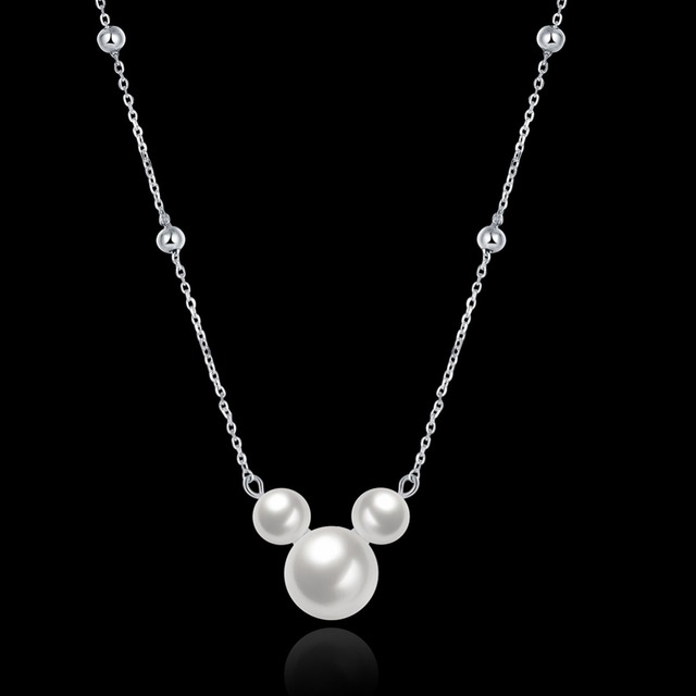 SLN002 Genuine 925 Sterling Silver Pendant Necklace For Women White Gray Natural Freshwater Baroque Pearl Jewelry