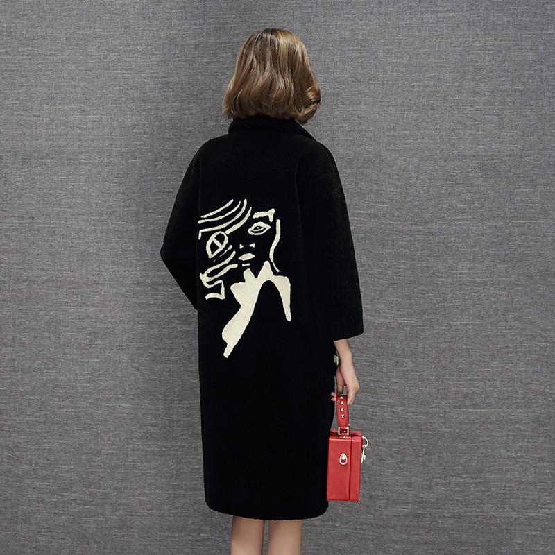 Sheep Shearing Wool Coat Female 100% Wool Coat Women Autumn Winter Warm Long Jackets Trench Coat Chaqueta Mujer LX2489