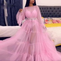 Saudi Arabian Wedding Guest Dress With Sleeve Pink Sheer Prom Gown No Belt vestido longo A Line Prom Gowns Tulle Personalized