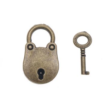 1PC z brązu w stylu Vintage stare w antycznym stylu staroświeckie miniaturowe kłódki klucz kłódka z kluczem sprzęt domowy pojemnik na bagaże blokady tanie i dobre opinie Key Lock Kłódki Keyed 3 6x2 5cm