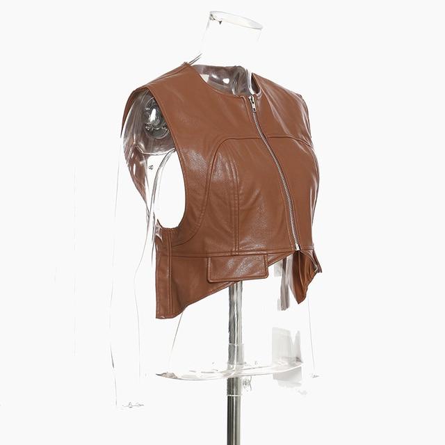 [EAM] Women Loose Fit Irregular Pu Leather  Zipper Vest New Round Neck Sleeveless Fashion Tide Spring Autumn 2021 1DD0726 5