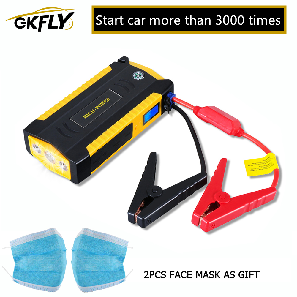 GKFLY High Capacity Car Jump Starter 600A Starting Device Portable Power Bank 12V Starter Cables Auto Battery Booster Charger