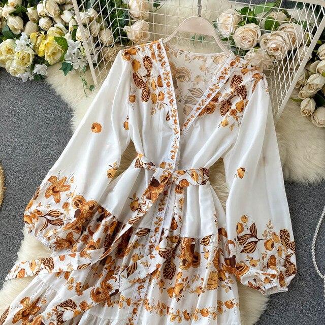 Vintage Print Dress  Elegant V Neck Single Breasted Sashes Tie Up 2