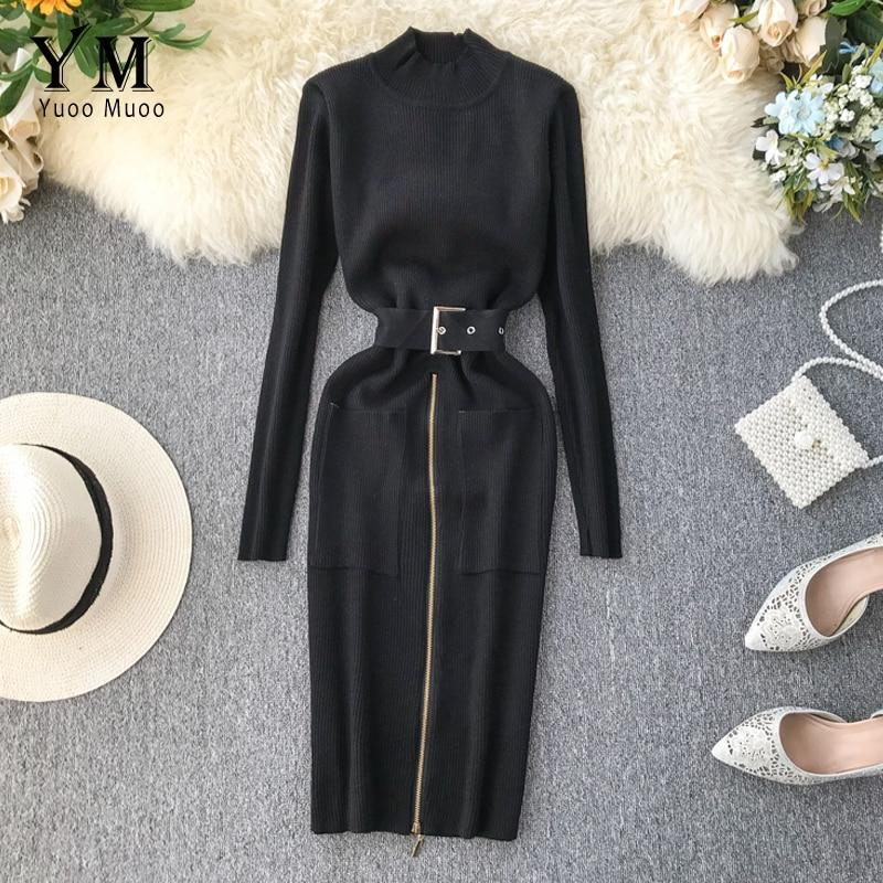 YuooMuoo Pockets Elegant Ladies Office Dress 2019 Autumn Winter Sashes Bandage Knit Work Dress Women Elegant Black Bodycon Dress
