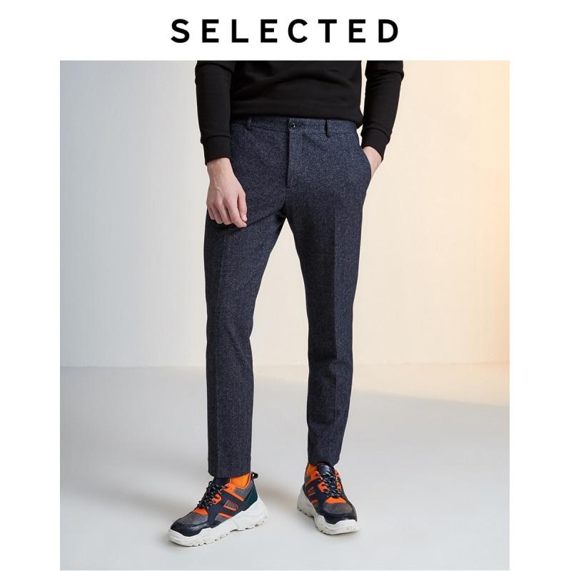 SELECTED Men's Slim Fit Herringbone Business Casual Suit Pants B 419418505