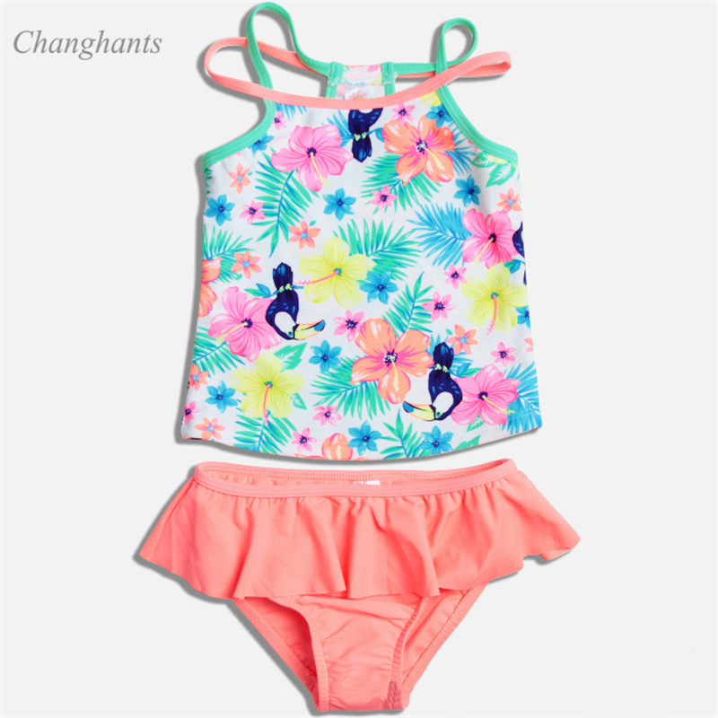 2019 New Model Girl Girls Swimwear  Pink & Flower Two Pieces Swimsuit Girls Swim Suit Bathing Suits Surfing Swimming Wear Summer