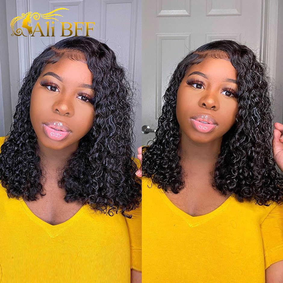 Pelucas frontales de encaje HD rizado para mujer, pelucas de cabello humano Mongolian180 % de densidad, encaje Frontal ALI BFF de 13x4