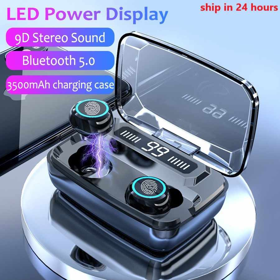 3500MAh LED Nirkabel Bluetooth Earphone Headphone Earbud TWS Kontrol Sentuh Sport Headset Membatalkan Kebisingan Earphone Headphone