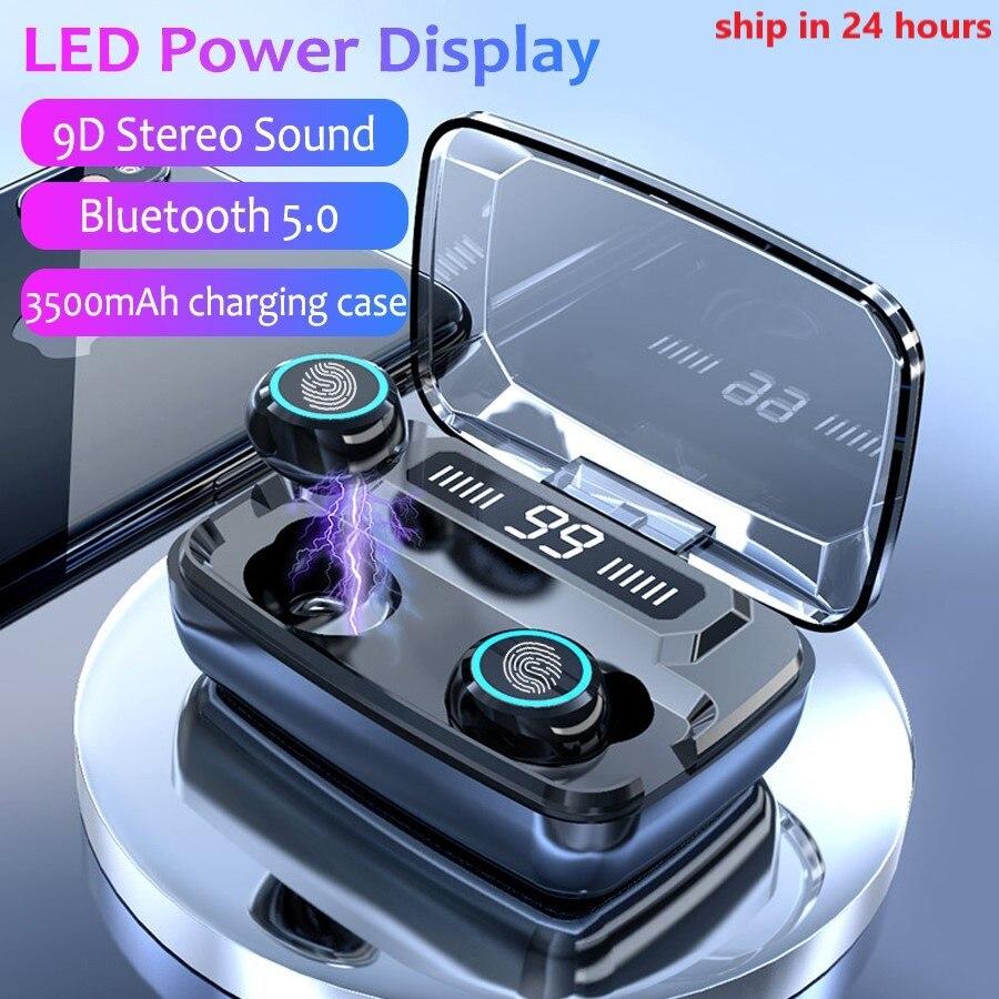 3500mAh LED Bluetooth Wireless Earphones Headphones Earbuds TWS Touch Control Sport Headset Noise Cancel Earphone Headphone(China)