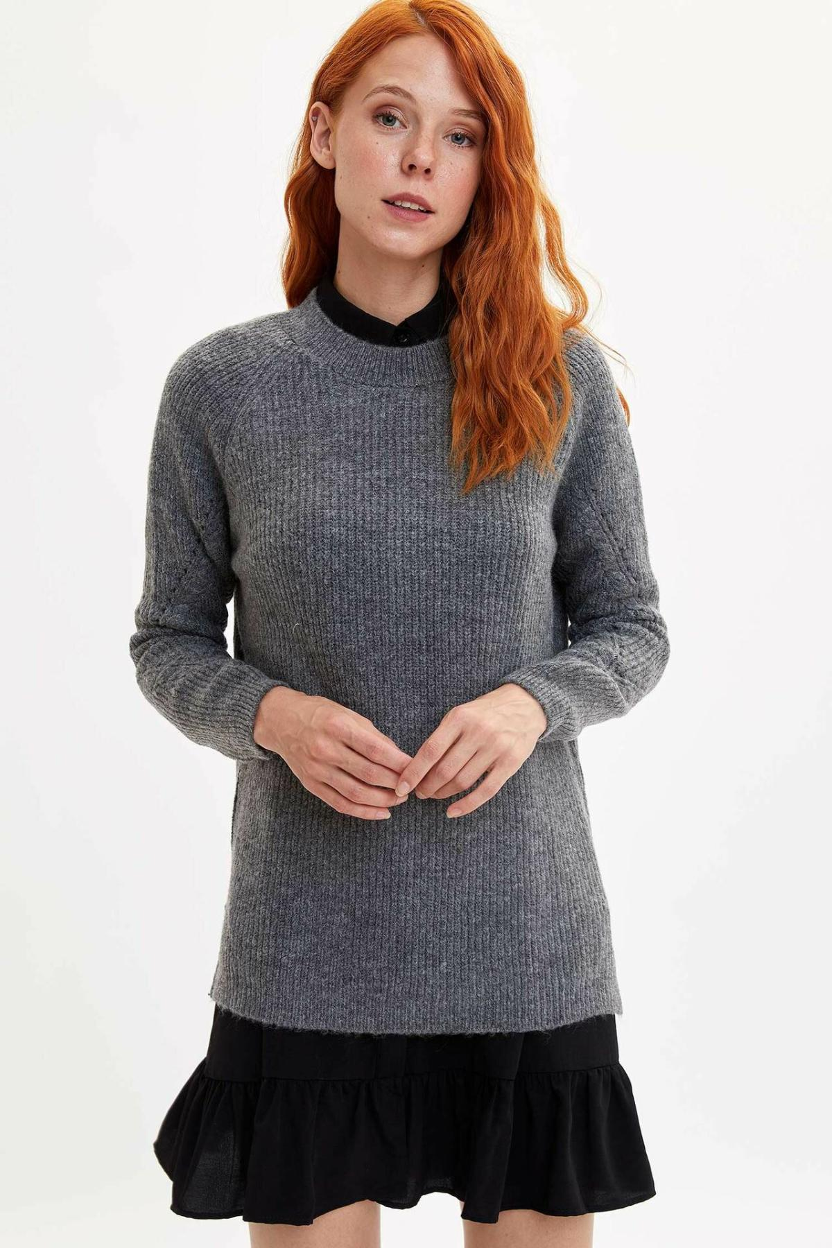 DeFacto Women Pure Color Leisure Knitted Sweatshirt Casual Long Sleeves Fashion Knitted Female-L7484AZ19WN
