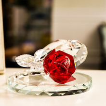 Fashion k9 Crystal Heart Rose Flower Crafts Ornaments 6Colors Glass Crystal Car Home Wedding Figurines Decor