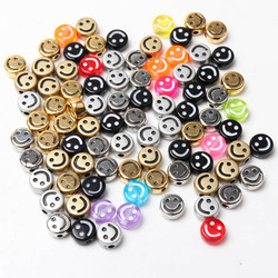Wholesale 100pcs 8-10mm Mixed Smiley Round Loose Beads, Acrylic Spacer Beads For Jewelry Making KL320
