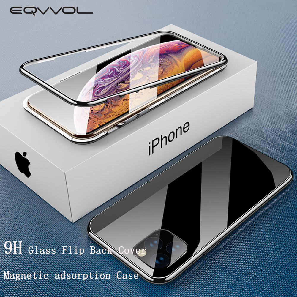 Funda de teléfono de adsorción magnética 2019 para iPhone 11 Pro Max XR XS MAX X 8 7 6 6s Plus funda de parachoques Macaron cubierta de imán de vidrio