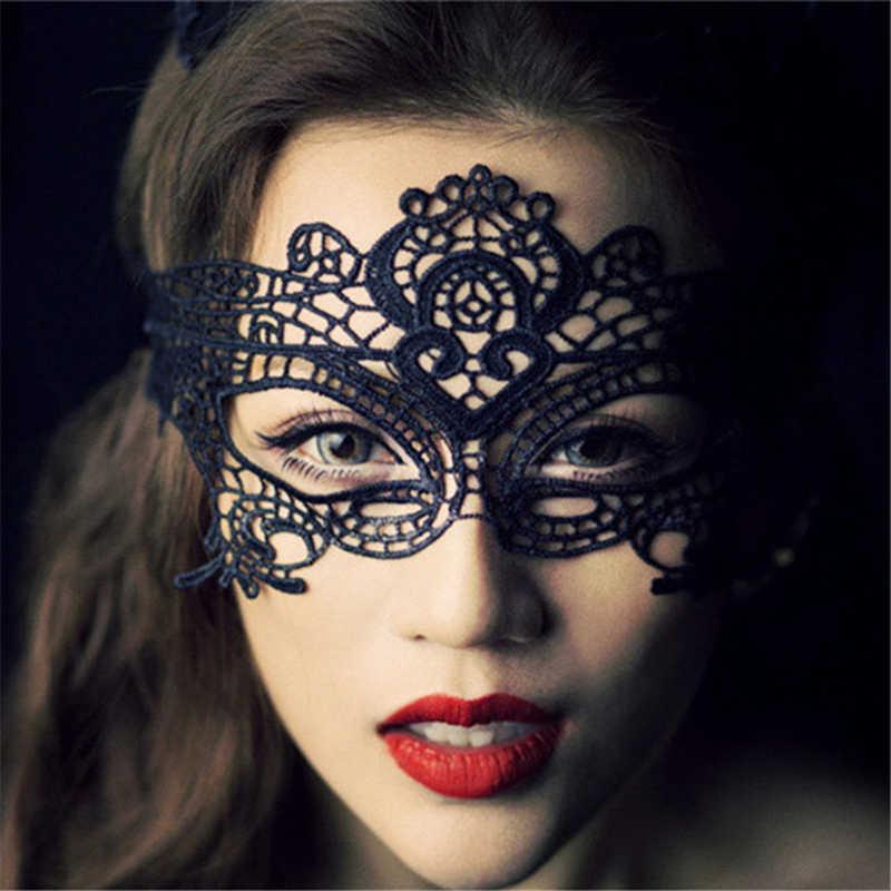 여자를위한 코스프레 섹스 의상 할로우 레이스 블랙 파티 나이트 클럽 퀸 아이 마스크 여성 에로틱 란제리 섹시한 장난감 성인 게임