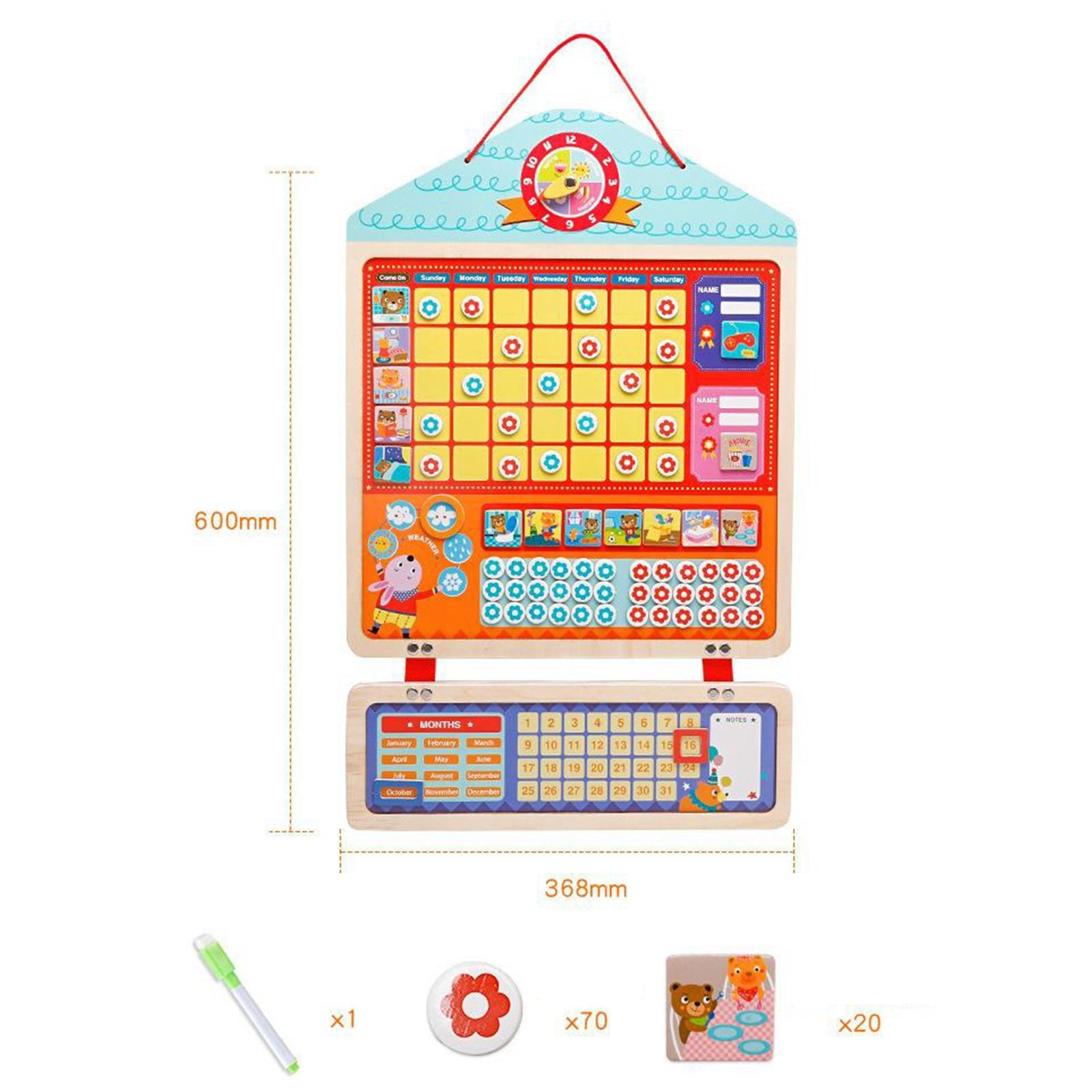 Montessori Wooden My Daily Magnetic Chore Calendar Reward Time Sheet Toys