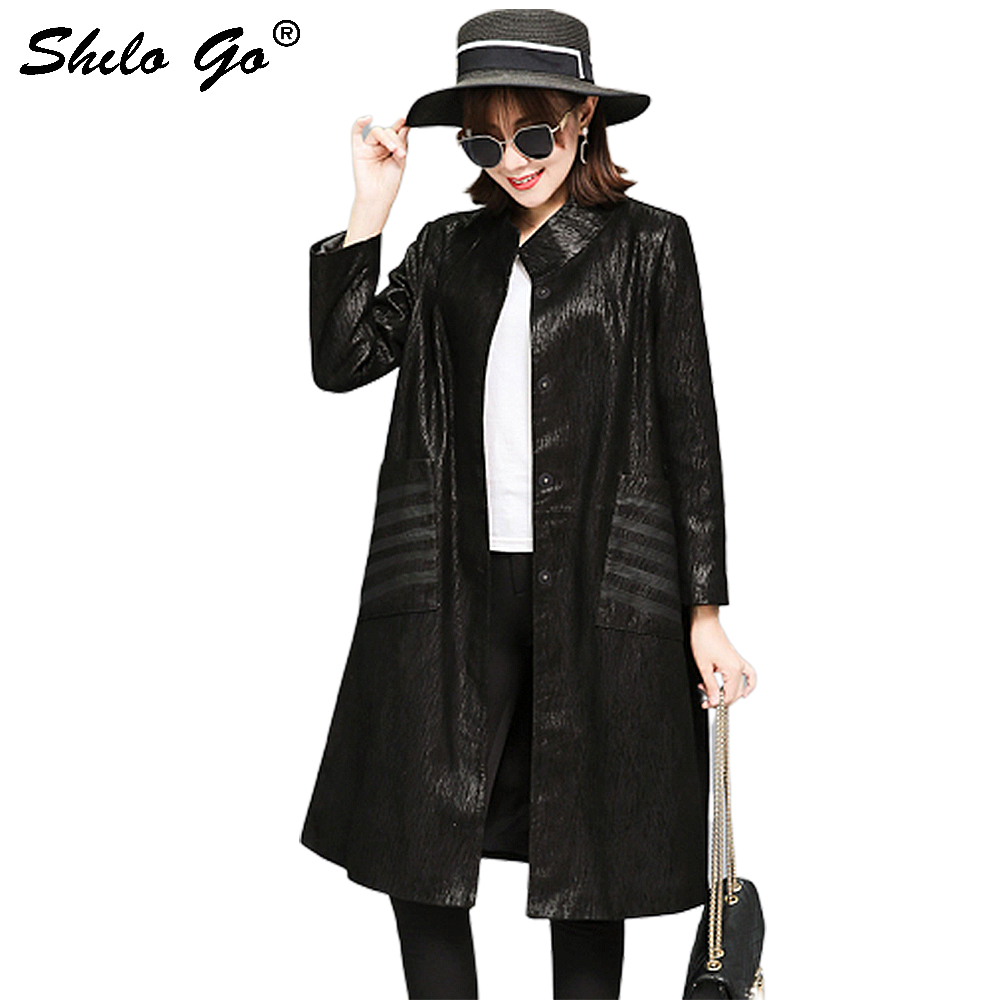 8XL Plus Size Genuine Leather Coat Elegant Mock Neck Printed Sheepskin Long Coat Women Autumn Winter Office Lady A Line Outwear