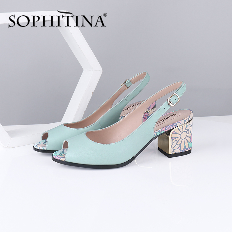 SOPHITINA Summer Women Sandals Peep Toe Square Heel High Quality Sheepskin Metal Decoration Shoes Floral Sweet Sandals PC587