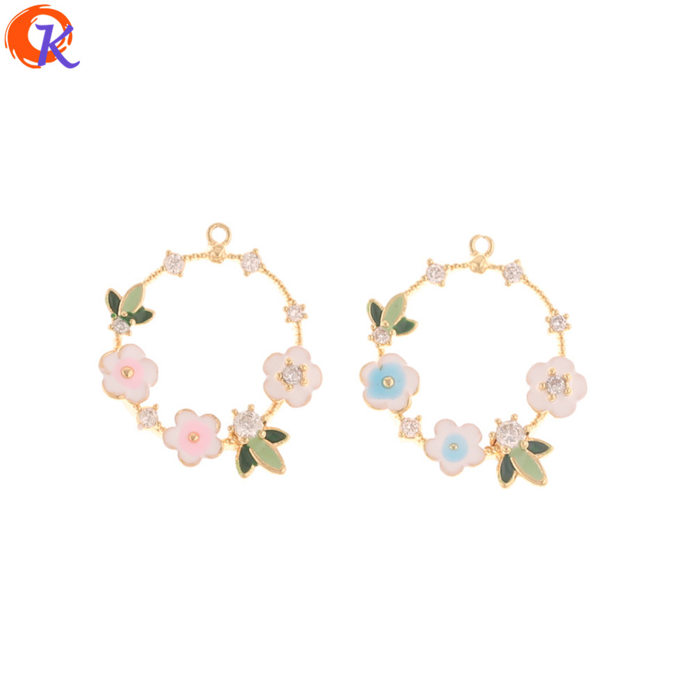Cordial Design 20Pcs 19*22MM Jewelry Accessories/CZ Charms/Paint Effect/Flower Shape/Genuine Gold Plating/Hand Made/DIY Making